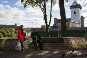 Encounter in the old town of Narva, Estonia with Hermann and Ivangorod Castle in the background. Grenzgänge Goethe Institut Stipendum 2016, Narva Artist Residence, Narva