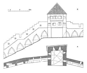 Rein Zobeli rekonstruktsioon Neitsitornist keskajal. A – II korruse plaan koos I ja III korruse kontuuridega; B – vaade tornile linna poolt. Allikas: R. Zobel, Tallinn (Reval): Keskaegsed kindlustused. Tallinn, 2011.