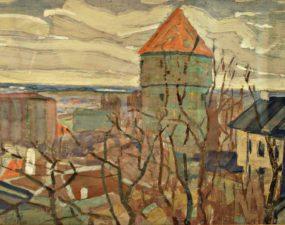 Henrik Olvi, vaade Kiek in de Kökile ja Neitsitorni kodule. 1956 (Tartu Kunstimuuseum)