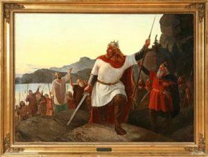 Niels Anker Lundi ajalooline maal kuningas Waldemar II Võitja ristikäigust tulevase Tallinna alla 1219 suvel