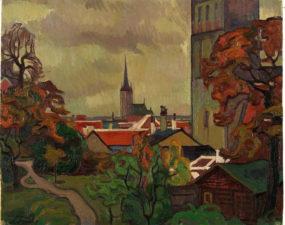 Tallinna vaade (praegusest Taani kuninga aiast), Nikolai Triik, 1915 ( Tartu Kunstimuuseum)