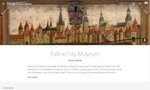 Tallinna Linnamuuseum Google Arts&Culture platvormil