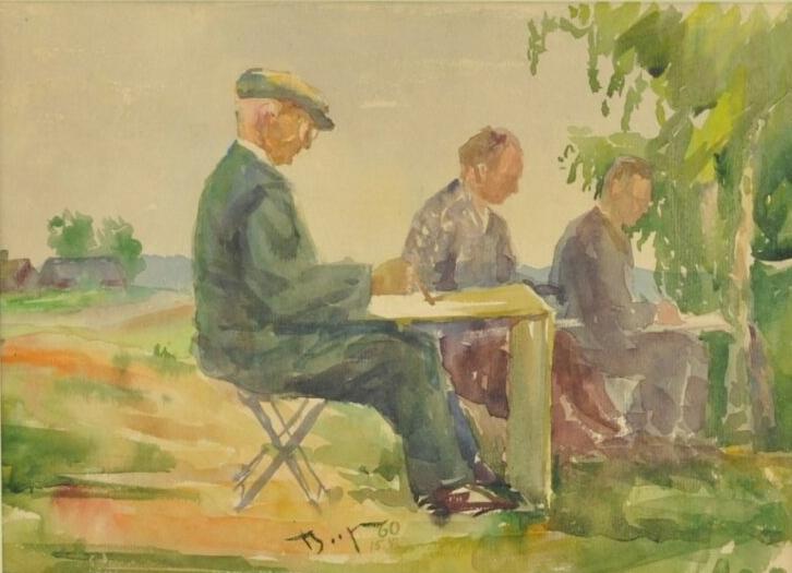 Akvarell Karl Burman maalimas